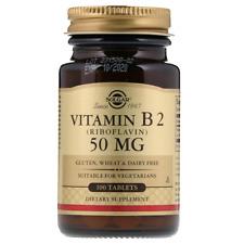 NEW SOLGAR VITAMIN B2 RIBOFLAVIN GLUTEN FREE ENERGY METABOLISM DAILY BODY HEALTH
