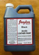 Angelus Black acrylic leather paint in 32oz bottle