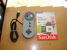 USB GAMEPAD AND SANDISK 32GB RETROPIE MICRO SD SNES RASPBERRY PI 3 B+