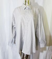 Joseph & Feiss Mens White Blue Gold Striped Slim Fit Button Up Shirt 19 34/35