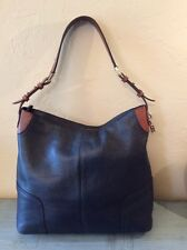 Massimo Dutti Large Black Pebbled Leather Handbag Shoulder Bag Purse