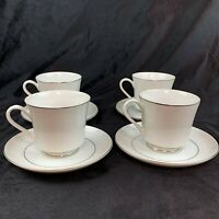 Vintage Crown Victoria Fine China - LOVELACE - Footed Cup & Saucer Set Of 4