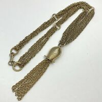 Vintage Tassel Necklace Gold Tone Multi Strand Chains Statement Boho