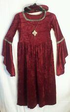 Girl's Wine-Red-Gold MEDIEVAL-RENAISSANCE FESTIVAL- Dress-Up COSTUME w/Hat veil