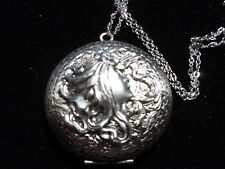 ANTIQUE SILVER CAMILLA MAIDEN LOCKET  LARGE