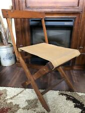 Vintage Tan Canvas Wooden Camping Folding Chair With Back Hunting Fishing