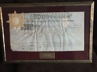 VERY RARE Historic c1794 Tom Mifflin & A.J. Dallas Signed Deed Framed