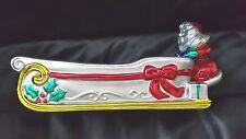 VINTAGE KASHIMA ART DECO CHRISTMAS SANTA CRACKER CANDY TRAY NEW SILVER