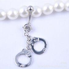 Bar Body Piercing Jewelry Rhinestone Handcuffs Belly Button Rings Crystal Navel