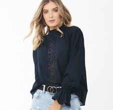 NWT Decjuba High Neck Blouse - 12 - Victoria Lace Top Blue Long Sleeves Navy