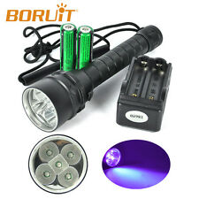 25W 390nm 5 x UV LED Diving Scuba Flashlight Torch+2x18650 6000mah PCB +Charger