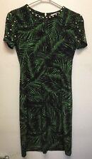 Michael Kors Gold Stud Embellished Matte Jersey Dress Size XS Green/Black NWT