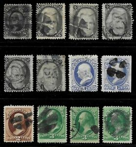 Lot #5 - Old US Stamps - - - All Grill Issues - - -