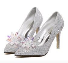 Cinderella Rhinestone Glass Slipper Fit Wedding Dress High Heels Prom Shoes 2018