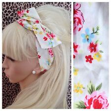IVORY FLORAL ROSE PRINT COTTON BENDY HAIR WRAP WIRED SCARF HEADBAND 50S RETRO