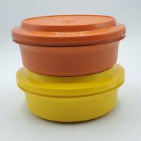 """Set of 2 Vintage Tupperware 8"""" Seal 'n Serve Orange & Yellow #1253 &  Lids #1207"""