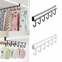 6 Hooks Cup Holder Hang Kitchen Cabinet Shelf Storage Rack Organizer Tools