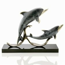 Sailor's Delight Double Dolphins Sculpture Brass Nautical Coastal by SPI Home