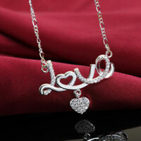 925 Silver Fashion Women charms LOVE heart crystal cute Necklace wedding jewelry