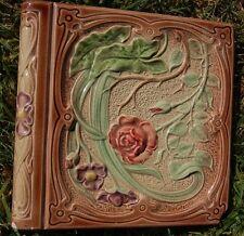French Art Nouveau Depose Antique one TILE roses majolica bullnose