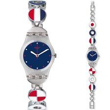 Swatch LK344G Women's Marinette Patriotic Stainless Steel Bracelet Analog Watch