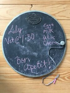 """VINTAGE CAFE CHALKBOARD, ROUND WITH FRENCH PLAQUE, """"AGED TO PERFECTION"""""""