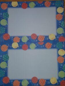 """Gartner Studios Paper 8 1/2""""x11"""" Balloons on Blue 2up Invites w/ Envelopes 24 pk"""