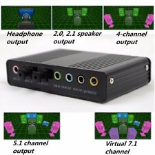 USB External 6 Channel 5.1 S/PDIF Optical Sound Card Box DAC Audio For PC Laptop