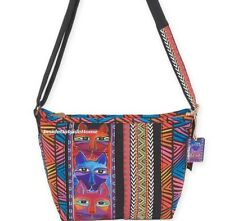 Laurel Burch Stacked Whiskered Cats Medium CrossBody Tote Bag New