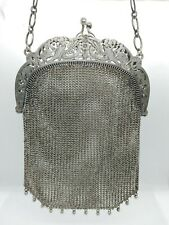 Antique Victorian Sterling Silver Mesh Chainmail~Repousse Chatelaine Purse~5.2oz