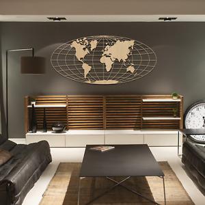 013 Amazing Modern Round World Map Wooden Wall Art Hanging MDF Oak Ash Decor