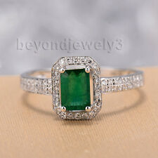 18kt White Gold Diamond Emerald Engagement Gemstone Ring Emerald Cut 4x6mm