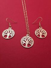 Stunning Tree Of Life Necklace & Earrings Set Gold - AUS SELLER