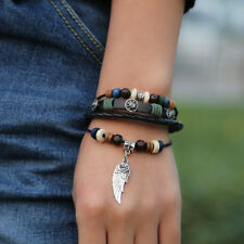 Men Feather Flower Skull Adjustable Punk Leather Bangle Beaded Ring Bracelet