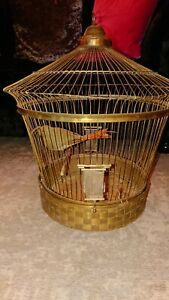 A Vintage Gilt Metal Bird Cage Containing a Model Bird, Height 50cm