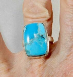 Kingman Turquoise Rectangle Ring 925 Sterling Silver Size 7.5