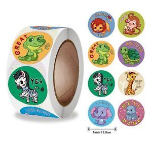 Super Cute Safari Animals Reward Stickers Kids Home School Teacher Children 25mm