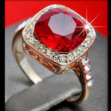 18K ROSE GOLD GF SQUARE RED GARNET VINTAGE WEDDING SOLID LADY DRESS CRYSTAL RING