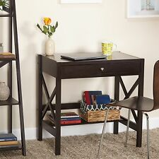 Small Compact Laptop Writing Desk w Drawer, Shelf X-design Wood Furniture Brown