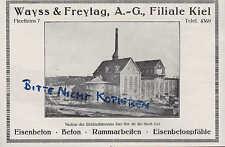 KIEL, Werbung 1922, Wayss & Freytag AG Eisen-Beton-Pfähle Ramm-Arbeiten Bau