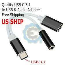 USB Type C To 3.5mm Aux Audio Charging Cable Adapter Splitter Headphone Jack US