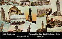 1971 Metropolitan Post Card Collectors Club 25th Aniiversary NYC Postcard