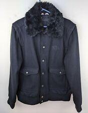 WESC Petter Black Jacket With Detachable Faux Fur Collar Large