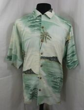 Tommy Bahama 100% Silk Palm Beach Button Short Sleeve Hawaiian Shirt Mens Large