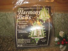 Vintage Fibre-Craft HARMONY BELLS RED Christmas Ornament Sequin Bead Kit NOS