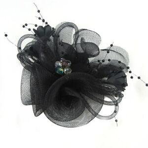 Women Headpieces Veil Flower Brooch Clip Bead Fascinator Bride Wedding Party