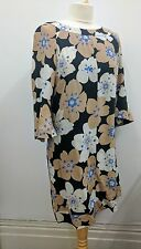 Joseph Silk Summer Dress Flower Pattern Design Mocha White Black In Medium
