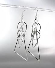BASKETBALL WIVES Lightweight Silver Metal Geometric Wire Shapes Dangle Earrings