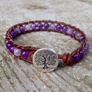 Beaded Leather Amethyst Bracelet Gemstone Energy Om Medium Handmade Purple