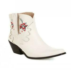 Women's Boots Cowboy Embroidery Western Square Toe Cuban Heel Fashion 41 42 43